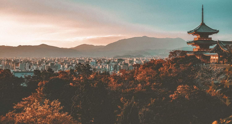 vista frontal de cidade no Japao